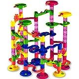 Deuba Murmelbahn Coaster Kugelbahn | 36 Murmeln 12mm | 111 Teile Bauvariationen DIY Kinder Spielzeug ab 3 Jahre