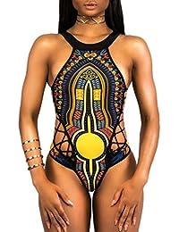 Damen Bademode,Resplend Frau Figurformend Badeanzüge Ethnischer  Blümchenmuster-Bikini In Vintage-Optik Racer 61d182b875