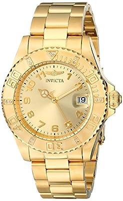 THE INVISIBLE CHEF 15249 - Reloj de cuarzo para mujer, con correa de acero inoxidable chapado, color dorado de Invicta