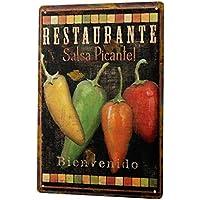 Cartel de chapa Placa metal tin sign Decoración Restaurante De Comida Salsa picante de pepperoni Letrero