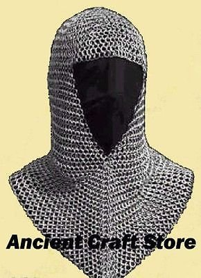 od (V-neck) Zink Coif re-enactment / larp / role-play by ancientcraftstore (Chainmail Coif Kostüm)