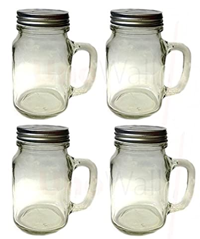 Set of 4 Mason Glass Drinking Jars with Handles and