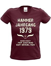 Geschenk-Set zum 38. Geburtstag : Damen T-Shirt & Urkunde : Hammer Jahrgang 1979 : Frauen Fun Shirt - lustige witzige Geschenkidee Geburtstagsgeschenk Farbe: burgund