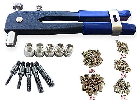 Muzata Heavy Duty rivets aveugles Écrou kit Ensemble, outil de Riveteuse, écrou de Rivet Gun, filetage Pince à riveter, à rivets, outils de rivetage avec 100pcs métrique Rivet Écrous inclus M3M4M5M6M8