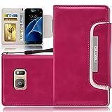 Samsung Galaxy S7 edge Hülle, numia Handyhülle Handy Schutzhülle [Book-Style Handytasche mit Standfunktion und Kartenfach] Pu Leder Tasche für Samsung Galaxy S7 edge SM-G935 Case Cover [Pink-Weiss]