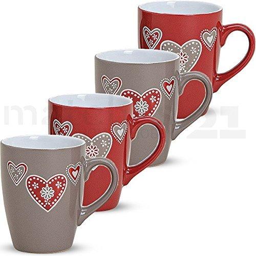 matches21 Bunte Becher Tassen Kaffeetassen Kaffeebecher Landhaus & Herzen 4-tlg. Set Keramik 10 cm /...
