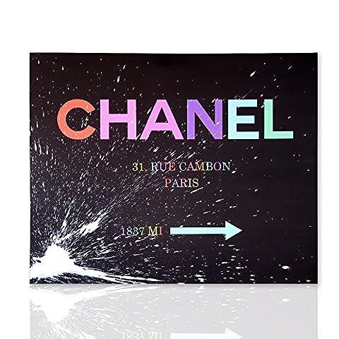 Chanel 31 Rue Cambon Paris moderne bunte Bild schwarze Hintergrund weiß Skizze malen bereit zum hängen für Wohnzimmer oder Schlafzimmer-Colorscrazy