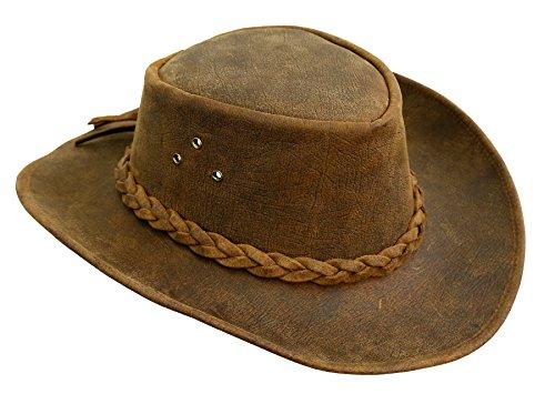 Kakadu Traders Lederhut Bulldog in braun | Westernstyle mit formbarer Krempe | Vintage Leder | Herren Damen Größe XL | 2.Wahl (Herren 10 Tasche Leder Weste)