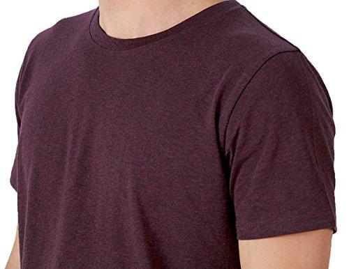 YTWOO Herren Rundhals Tshirt aus 100% Bio-Baumwolle- in Diversen Farben Schwarz und Weiß bis 2XL - Organic (M, Heather Grape Red) (100% Shirt Bio-baumwolle)