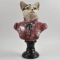 Dapper animali gatto Busto Abbigliamento vintage decorazione unico in stile Steampunk Fantasy H25.5cm