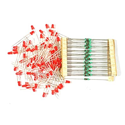 Electrobot 3mm LED Light Emitting Diodes Electronic 1/4 W Resistors Pack of 100 (Red)