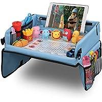Bandeja coche LOORI, Mesa coche para niños, Bandeja de viaje, Bandeja coche niños, Mesa para niños en la asiento de coche, Tablero Impermeable del Coche - 40x32cm, cochecito, avión - Azul