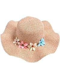 Gespout Primavera Estate Ragazze Cappello di Paglia Cappello da Sole Fiori Cappello  del Bacino Berretti per Bambini Cappellini con Visiera… 802be9354934