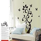 CmdyzDie Neue Schwarze Schmetterling Rattan Blume Wohnzimmer Schlafzimmer Dekoration Wand Stick Mobile Stick An Der Wand Größe 60 * 90 Cm