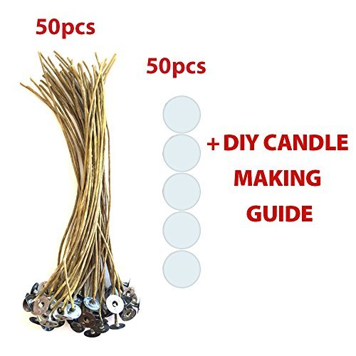 cozyours 20,3cm Bienenwachs Hanf Kerzendocht mit Kerze Docht Aufkleber, 50/50PCS; Low Smoke & Natural; Kerze DIY Hacks E-Book enthalten. Kerzendocht für Kerzenherstellung -