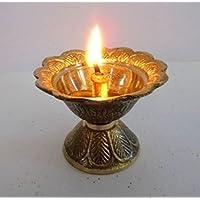 Artcollectibles India latón diya Deepak Akhand Jyot Kuber hindú templo Havan religiosos Puja lámpara de aceite