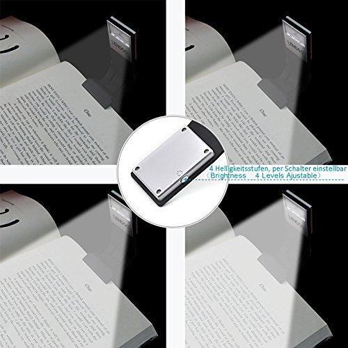 Lámpara de Lectura, Luces de lectura, LENDOO Flexo LED de Pinza con Carga USB, Con 4 Niveles de brillo Ajustable, Con Batería Recargable, es Más Económico y Ecológico