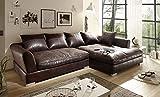 Homeline couchgarnitur Polsterecke, Ecksofa, Schlafsofa Eck Sofa Wohnlandschaft Megasofa (Vintage Dunkel braun, Rechts Version)