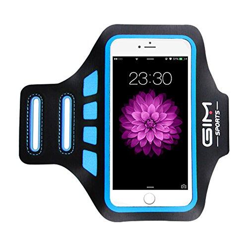 Sportarmband universell Handy Armband Tasche passend für bis zu 6 Zoll Smartphone iPhone 8 Plus 7 Plus Samsung Galaxy S8 Mit Schlüsselhalter zum Joggen Laufen Gym Armtasche - Blau
