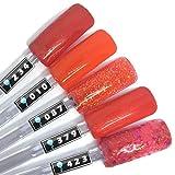 Color Gel 5er Set (je 5ml): Heiße Lava, Orange - Gel Orange, Gel rotorange, Gel Leuchtorange, Gel Orange Glitter