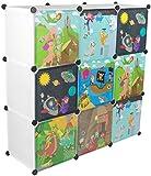 KEKSKRONE - Kinder Kleiderschrank mit Bunten Abenteuer Motiven - Weiß 9 Module - DIY Steckregal Inklusive Kleiderstange