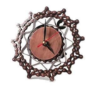 horloge murale horloge sur pied cha ne de v lo 18 cm m tal recycl fair trade. Black Bedroom Furniture Sets. Home Design Ideas
