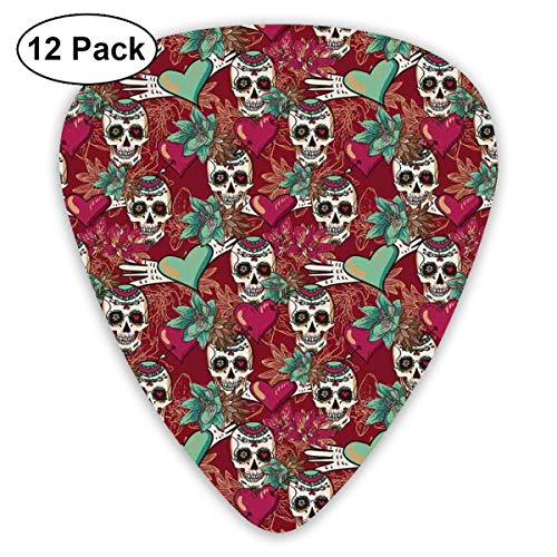 Celluloid Guitar Picks - 12 Pack,Abstract Art Colorful Designs,Sugar Skull Figures With Flourishing Exotic Flowers And Pink Hearts With Arrows Art,For Bass Electric & Acoustic Guitars. Flower Sugar Collection