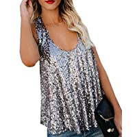 WSPLYSPJY Women Sexy U Neck Sleeveless Open Back Sparkle Sequin Embellished Tank Tops Silver L