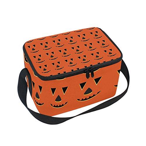 COOSUN Halloween Kürbis-Gesichter Muster Kühltasche Cooler Wiederverwendbare Tragetasche mit Verstellbarem Schultergurt für Männer Groß Multi