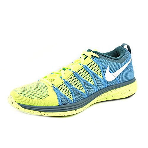 Nike Flyknit Lunar2 Us 6 Rose Running Shoe Volt / White-Blue Glow-Night Fctr