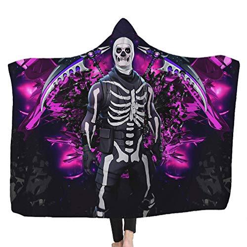 Brofans Manta de Confort 150 x 200 cm, Fortnite Game Skull Microfibre Franela Soporte portátil/Manta de sofá/Manta de Viaje para Adultos Niños, B, 150 * 200cm