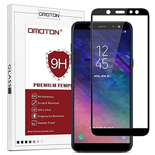 OMOTON Panzerglas Schutzfolie für Samsung Galaxy A6 2018 (5,6 Zoll), volle Bedeckung, Anti- Kratzer, Bläschenfrei, 9H Härte, HD-Klar, [2,5 D Runde Kante] -Schwarz -
