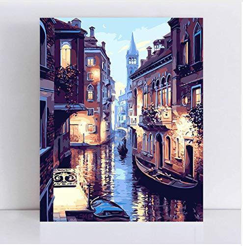 WYTCY Mit gerahmtem Gemälde nach Zahlen Kunstfarbe nach Zahlen DIY gerahmt Venedig Nacht Landschaft Digitale europäische Landschaft Leinwand Gemälde Malerei 40x50cm