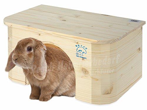 """Resch Nr16 Kaninchen """"Bungalow"""" naturbelassenes Massivholz aus Fichte / Abgerundetes Design / mit extra großem Eingang"""