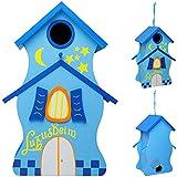 Unbekannt Design Vogelhaus - Luxusheim - aus Holz - 30 cm - Nistkasten, Vogelhäuschen - für Garten & Balkon - Bunte Farben / Haus - zum Aufhängen & Hinstellen - Vögel N..