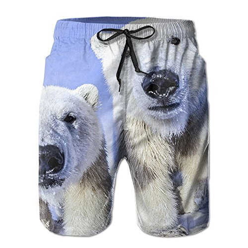 Men's Beach Shorts Baby Animals Polar Bear Casual Classic Surfing Trunks Surf Board Pants with Pockets for Men Chicago Board