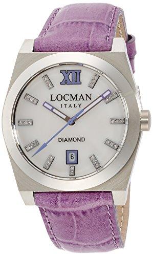 Locman Stealth/montre femme/cadran nacre blanche et diamants/caisse acier et titane/Bracelet Cuir Violet