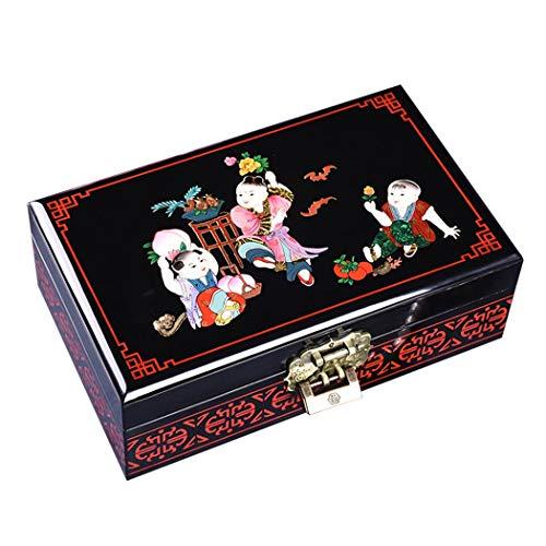 dmade Wooden Jewelry Box Europäischen Vintage Dekorative Schmuck Make-Up Aufbewahrungsbox Tragbare Schmuckhalter für Armbänder Ringe ()