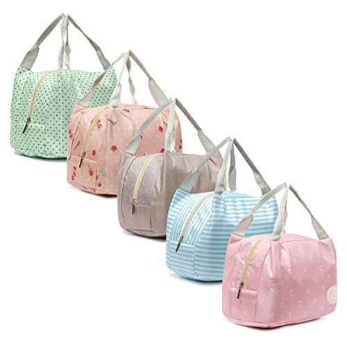 Aliciashouse Portatile isolato Lunch Box bagagli Travel Bag Picnic contenitore di alimento Carry Totes -Green dot - Giardino Strumenti Carry Bag