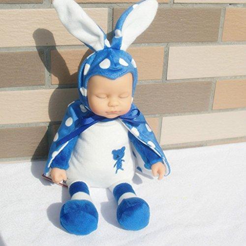 """Preisvergleich Produktbild Edealing (TM) 9.84 """"Plüsch-Kaninchen-Puppe Nettes Simulations-Silikon-Vinylschlaf-Spielwaren-Geschenk für Baby-Kinder - Blau"""