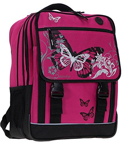 FABRIZIO Butterfly Beauty Schulrucksack 3er SET: Sporttasche + Mäppchen MAGENTA - 8