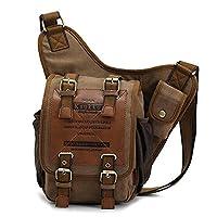 Canvas Leather Messenger Bag, Vintage Shoulder Bags, New Design Travel Pack for Men by Kaukko???Khaki???