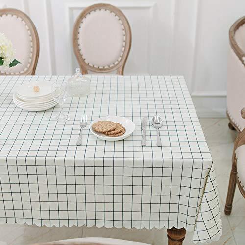 Rechteckige PVC wasserdichte Tischdecke abwischen Kunststoff Desktop Plaid Muster Design für Outdoor-oder Indoor-Garten Küche,White,140 * 140 -