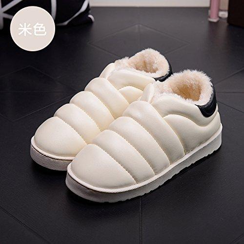 DogHaccd pantofole,Autunno Inverno slitta impermeabile coperta pantofole di cotone confezione a caldo con uomini e donne matura home soggiorno anti-slittamento pantofole spessa Il beige2