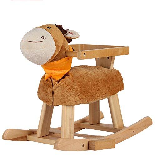 Qxmei regalo della sedia a dondolo del giocattolo del bambino di musica del cavallo di legno solido del cavallo di legno dei bambini 1-4 anni,brown
