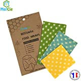 Emballage Alimentaire en Coton Bio certifié GOTS et Cire d'abeille | Lot de 3 Tailles SML | Bee Wrap Lavable et réutilisable | Emballage recyclé sans Plastique. Zéro déchet (Pois Blancs)