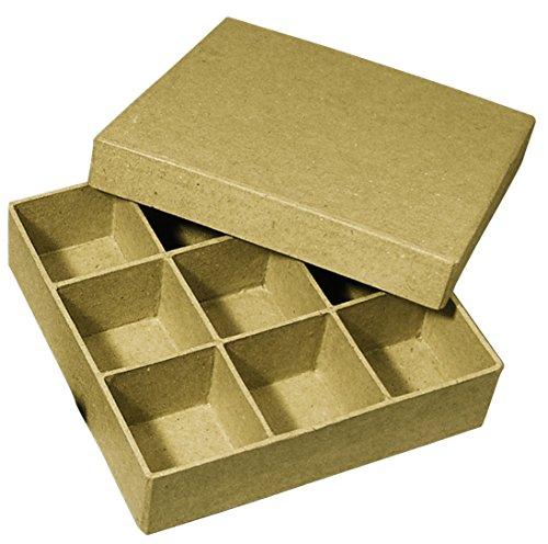Rayher 71748000 Pappmaché Sortierbox FSC Recycled 100%, 14x14x3,5cm, Q