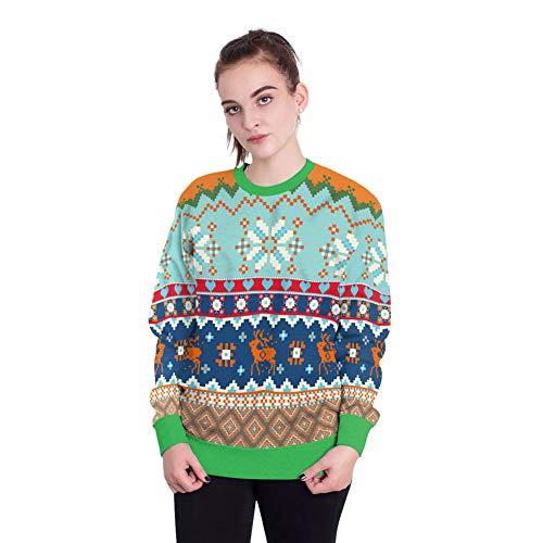 (Kapuzenpulli Frauen Weihnachten Print Langarm Round Collar Hoodie Unisex Pullover Bluse Sweatshirt Langarmshirts M)