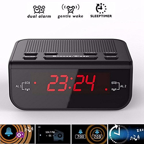 Preisvergleich Produktbild EsportsMJJ Cr246 Red Led Display Digital Fm Radio Dual Alarm Clock With Summer Nickerchen Funktion