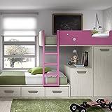 Meubles ROS Etagenbett mit Abnehmbarem Schreibtisch, Schrank und 2 Schubladen, 164,4x246,5x103,4 cm